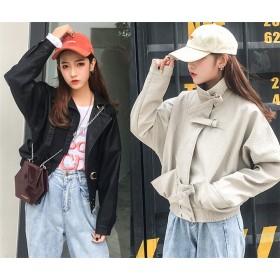 フェイクレザー ジャケット 革ジャン 体型カバー ドルマンスリーブ 韓国風 カジュアル ライダース 皮ジャン コート