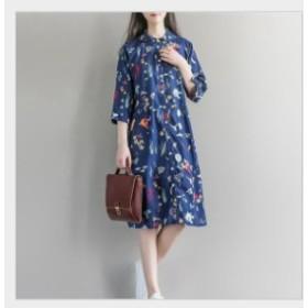 ワンピース 花柄 シャツ 長袖 着痩せ 体型カバー 膝丈ワンピース 大きいサイズ ワンピース フレア フリルスリップ