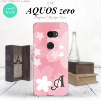 AQUOS zero アクオス ゼロ 801SH スマホケース ハードケース 花柄・サクラ ライトピンク イニシャル nk-801sh-063i