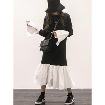 異素材MIX ニット ワンピース 黒白 ブラック ホワイト ミモレ丈 レイヤード シャツ フレアスリーブ 5045