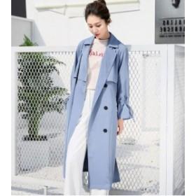 トレンチコート アウター レディース カジュアル ベルト付き 薄手 ロングコート リボン