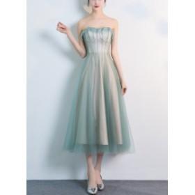ワンピース ドレス 半袖 結婚式 可愛い 成人式 オシャレ オフショルダー ミディアム チュール シフォン 5037