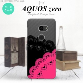 AQUOS zero アクオス ゼロ 801SH スマホケース ハードケース レース(B) 黒×ピンク nk-801sh-728