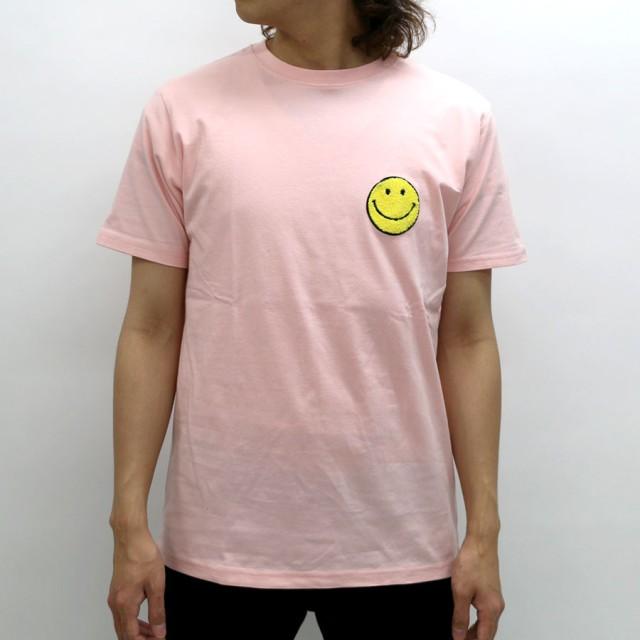 Tシャツ - MARUKAWA Tシャツ メンズ 夏 スマイル ワッペン 半袖 ホワイト/ブラック/ピンク/ブルー M/L/LL【 ティーシャツ サガラ刺繍SMILE アメカジ かわいい】