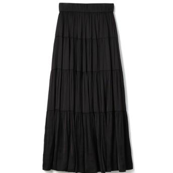 ESTNATION / サテンティアードスカート ブラック/38(エストネーション)◆レディース スカート