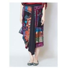 【チャイハネ】yul ジャガード刺繍変形スカート ブラック