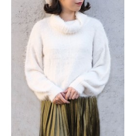 アンドジェイ タートルネックシャギーニット レディース ホワイト M 【ANDJ】