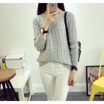 ★送料無料★ 【la select】 韓国ファッション 『縄柄』クルーネック セーター ニット ♪ 超売れ筋商品 工場直接仕入れの為、お安くご提供中です♪
