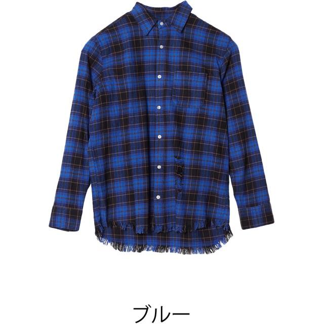 シャツ - improves チェックシャツ メンズ 裾フリンジ ネルシャツ ネルチェックシャツ シャツ 長袖シャツ 大きいサイズ メンズファッション 秋服 冬服秋冬