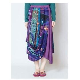 【チャイハネ】yul ジャガード刺繍変形スカート パープル