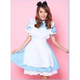 メイド服(ブルー)(リボンカチューシャ付!)/コスチューム/コスプレ/アリス衣装/メイドさん6043