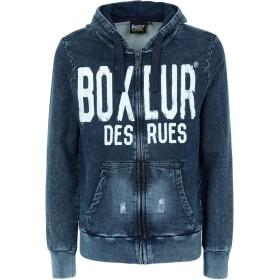 《期間限定 セール開催中》BOXEUR DES RUES メンズ スウェットシャツ ブルーグレー M コットン 97% / ポリウレタン 3% HOODED FZIP WITH RIPPED DENIM EFFECT FRONT LOGO