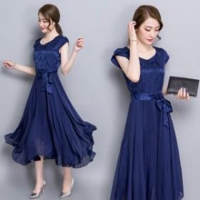 【3色】花柄 レース 半袖 シフォン フレアワンピース ミディアム ドレス 結婚式 パーティー