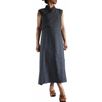 ジョムトン手織り綿チュバ風ドレス 墨黒(DFS-039-01)