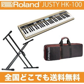 ROLAND JUSTY HK-100 ハーモニー&リズム練習用キーボード & ROLAND CB-GO61 ソフトケース & Dicon Audio KS-020 X型キーボードスタンドセット