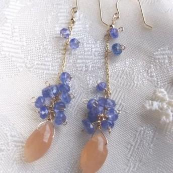 【SALE】K10YGオレンジムーンストーンとタンザナイトのロングピアス宝石質