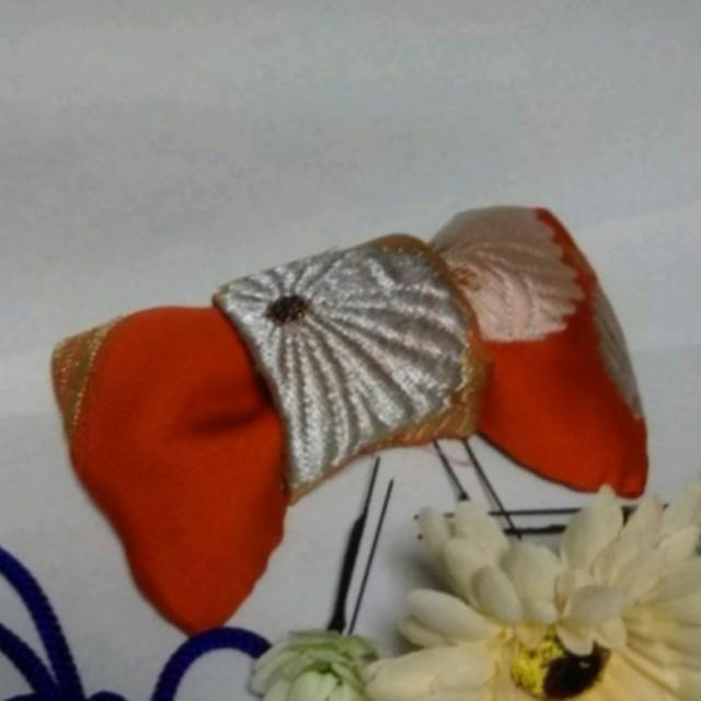 《お祭り》柿色にマム、アンティーク帯地の髪飾り