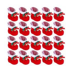Happyyoo クリスマスブーツ お菓子入り 20個セット 長靴 サンタブーツ キャンディ靴 お菓子 子供 かわいい プレゼント 靴 サンタ袋 オ