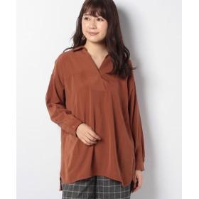 ジーラ 洗える衿抜きシャツチュニック レディース キャメル M 【GeeRa】