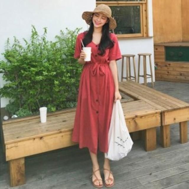 【2色】涼しい オルチャンファッション ウエストリボン ロングワンピース 半袖 無地 夏 リゾート