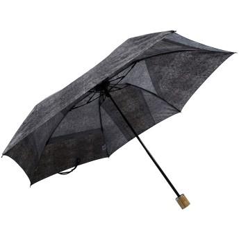 【オンワード】 +RING(プラスリング) 【限定/日本製】デニムプリント雨傘(折りたたみ)BLK SR229 黒 F レディース 【送料無料】