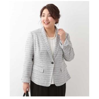 eur3 / 【大きいサイズ】ラメツイードテーラードジャケット