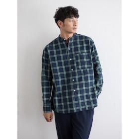 シャツ - koe バンドカラーブラックウォッチシャツ