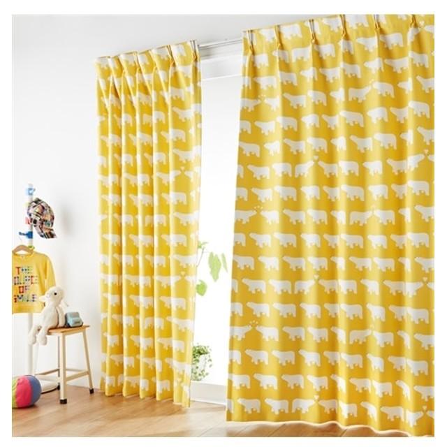【1cm単位オーダー】白くま柄遮光カーテン(1枚) ドレープカーテン(遮光あり・なし) Curtains, 窗, 窗簾