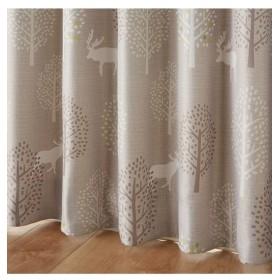 【1cm単位オーダー】北欧調ツリー&シカ柄遮光カーテン(1枚) ドレープカーテン(遮光あり・なし)