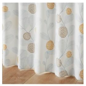 【1cm単位オーダー】北欧調リーフ柄遮光カーテン(1枚) ドレープカーテン(遮光あり・なし)