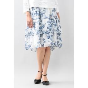 TO BE CHIC フラワーパピヨンプリントスカート ロング・マキシ丈スカート,オフホワイト