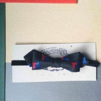 パパの弓ネクタイアンティーク布ネクタイネクタイ手作りの蝶ネクタイ - 黒い四角 - ナローエディション