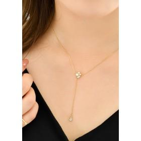 Phoebe パールビジューYラインネックレス ネックレス,ゴールド