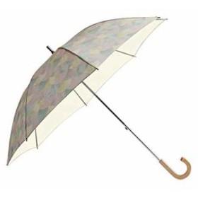ショートスライド式 全8柄 長傘 手開き 日傘/晴雨兼用 8本骨 50cm 中棒伸縮傘 UVカット 木製ハンドル[81086](パステル)