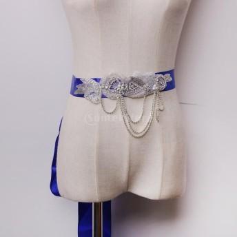 ロイヤルブルー タッセル サッシ ウエストベルト ドレス黒 結婚式/ブライダル 水晶 ラインストーン 真珠