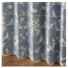【1cm単位オーダー】北欧調小鳥柄遮光カーテン(1枚) ドレープカーテン(遮光あり・なし)