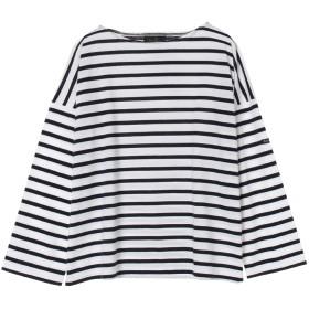 Le minor PETIT COPAIN Tシャツ・カットソー,ホワイト×ネイビー