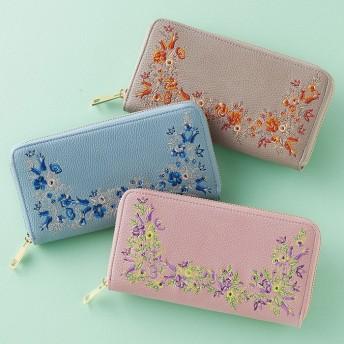 ベルーナ 花柄刺しゅう長財布 ピンク 1 レディース