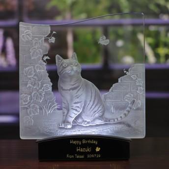 猫と蝶々 LED照明付き エッチングガラス パネルオブジェ