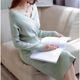 ニットワンピース 韓国ファッション レディース ワンピース 秋冬ワンピース ロング丈ニット  送料無料