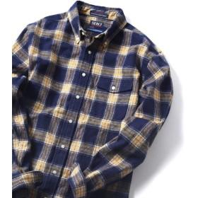 シップス SERO×SHIPS JET BLUE: 別注 ボタンダウン ネルチェックシャツ メンズ コバルトブルー MEDIUM 【SHIPS】