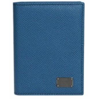 【わけあり】ドルチェ&ガッバーナ カードケース BP1643 DG たて型 マチ付き 名刺入れ ロゴプレート 型押しカーフ ブルー アウトレット