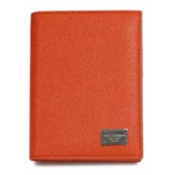 【わけあり】ドルチェ&ガッバーナ DG カードケース たて型 マチ付き 名刺入れ ロゴプレート 型押しカーフ オレンジ BP1643 アウトレット