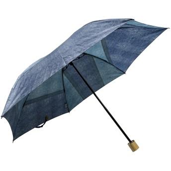 【オンワード】 +RING(プラスリング) 【限定/日本製】デニムプリント雨傘(折りたたみ)BLU SR230 青 F レディース 【送料無料】