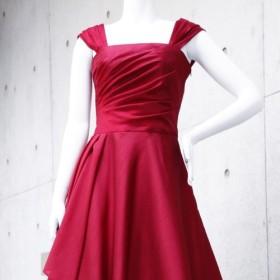 演奏会・発表会に / ドレス初心者でも着やすい肌見え感と体型カバーの褒められドレス(レッド) 1-0197-4