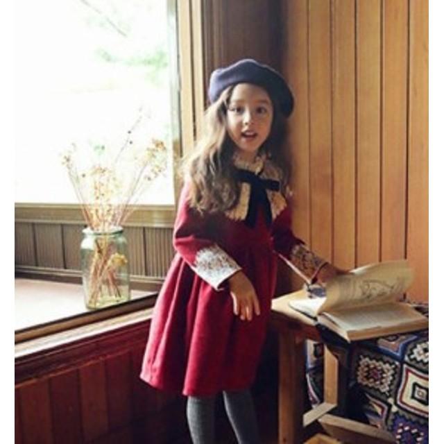 865f560a8056d ワンピース 子供服 女子コーデ 秋冬 綿 刺繍 フォーマル 長袖ワンピース 結婚式 誕生日 袖