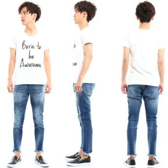 デニムパンツ・ジーンズ - improves メンズファッション スキニーデニム メンズカットオフスリムアンクル ズボン パンツ メンズ デニム ジーパン ジーンズスキニーダメージアンクル 9分丈 ダメージジーンズ メンズファッション メンズ お兄系 ストリート系 オラオラ系 大