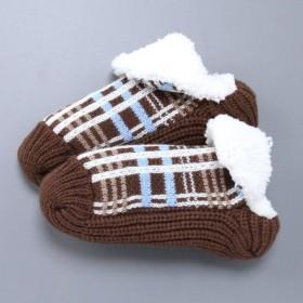 靴下 レディース あったか裏ボア(マシュマロタッチ) ルームソックス 「ブラウン(チェック)」,179) %>