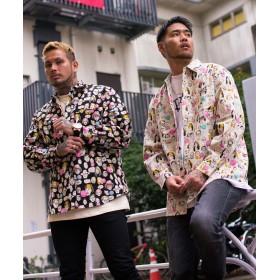 シャツ - SILVER BULLET シャツ 長袖 メンズ 国産 日本製 総柄 ロゴ RAZZIS【ラズ】Japan Made Face PrintShirt/全2色【トップス プリント リネン混 オーバーサイズ ビッグシルエット ユニセックス ホワイト ブラック BITT