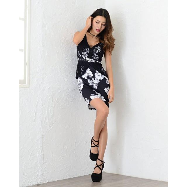 e4a442a1bb44d ドレス - R.L.O by milky way 《レース花柄ノースリーブミニワンピース》ミニドレス